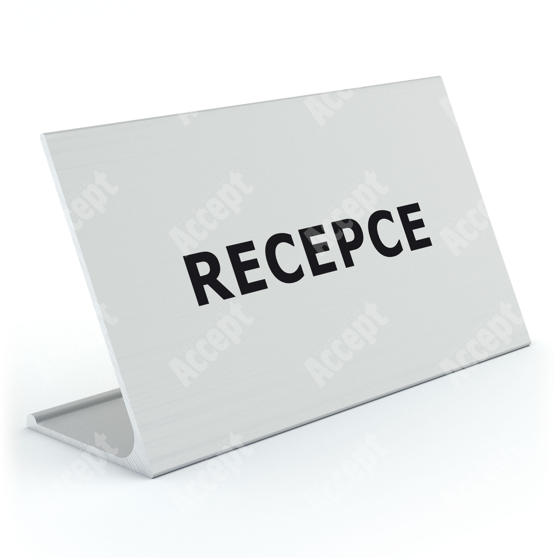 """ACCEPT Stolní informační stojánek D-62 """"RECEPCE"""" - stříbrná"""