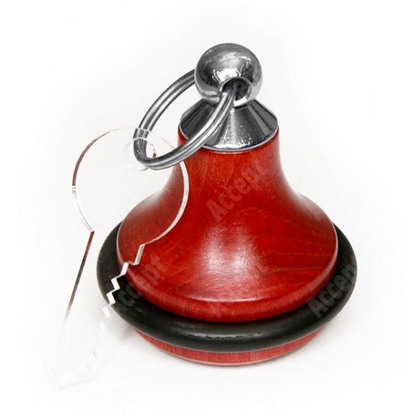 Dřevěná klíčenka s gumou - červená - stříbrný úchyt