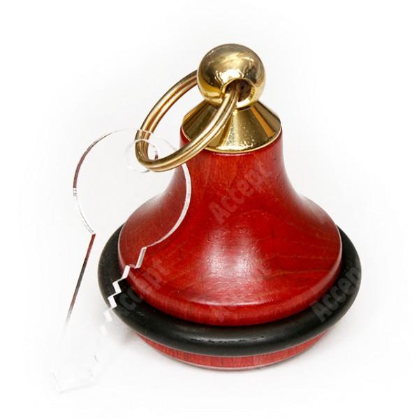 Dřevěná klíčenka s gumou - červená - zlatý úchyt