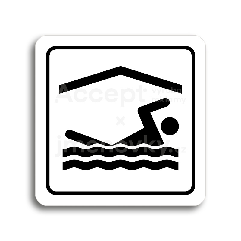 ACCEPT Piktogram bazén krytý - bílá tabulka - černý tisk