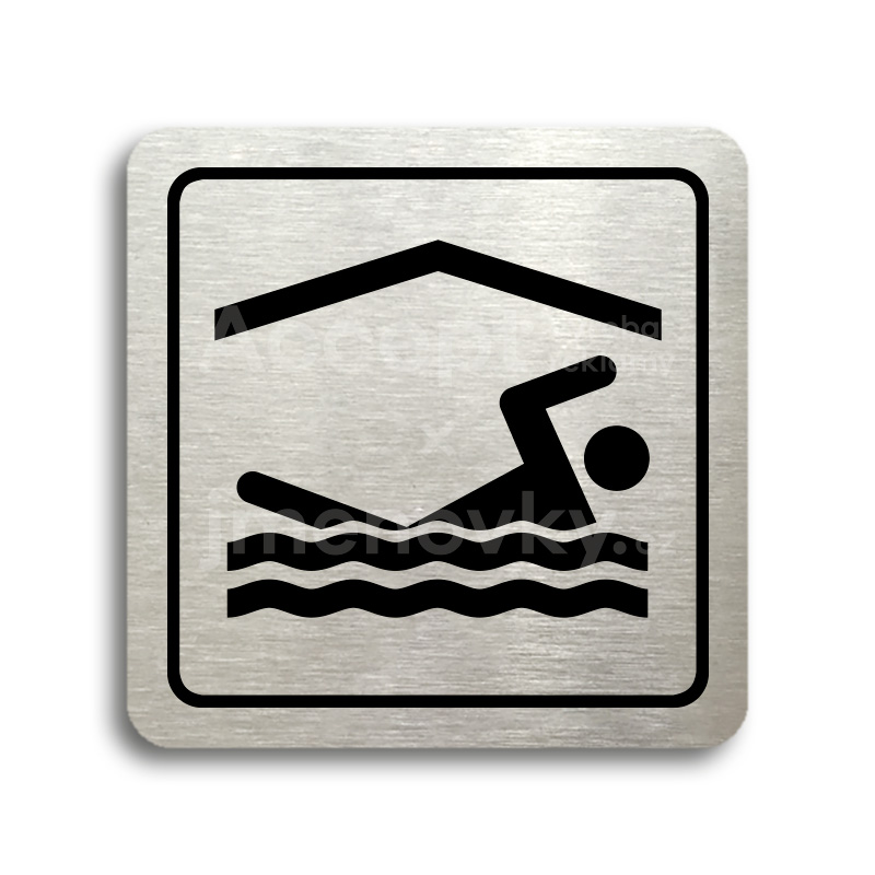 ACCEPT Piktogram bazén krytý - stříbrná tabulka - černý tisk