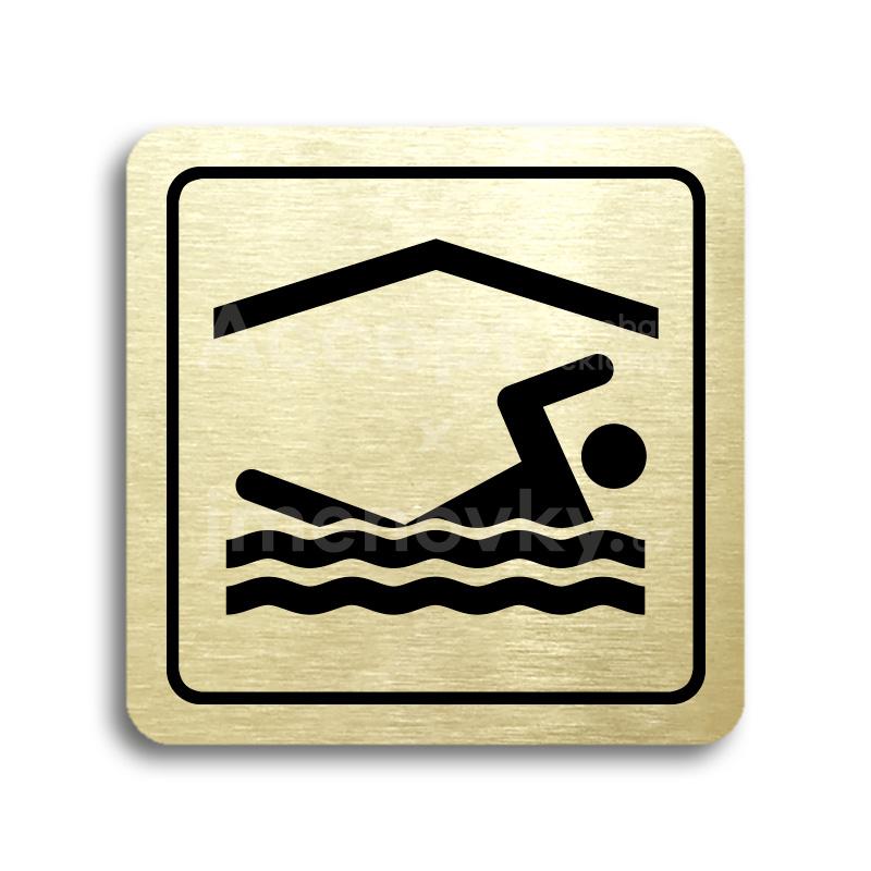 ACCEPT Piktogram bazén krytý - zlatá tabulka - černý tisk