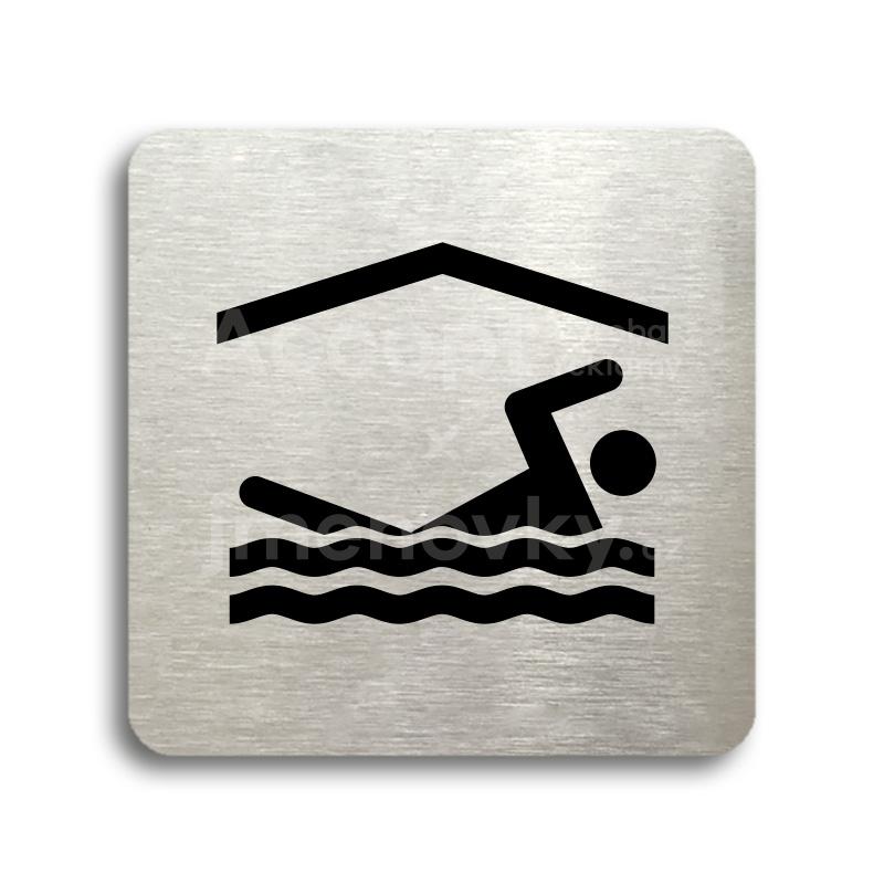 ACCEPT Piktogram bazén krytý - stříbrná tabulka - černý tisk bez rámečku