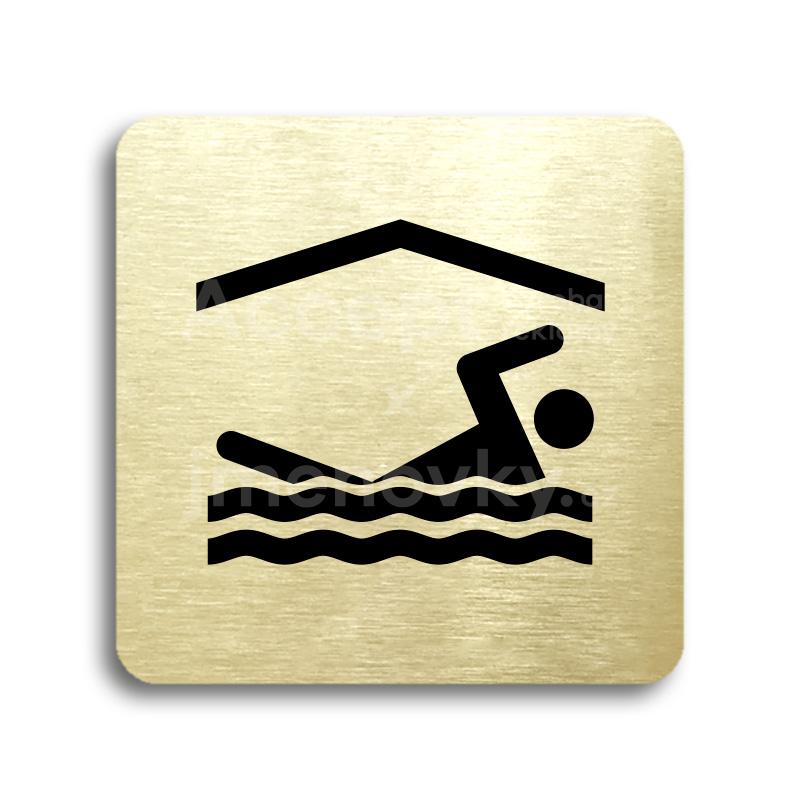 ACCEPT Piktogram bazén krytý - zlatá tabulka - černý tisk bez rámečku