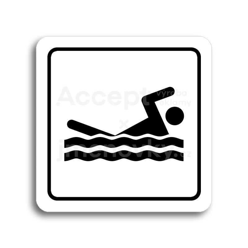 ACCEPT Piktogram bazén venkovní - bílá tabulka - černý tisk