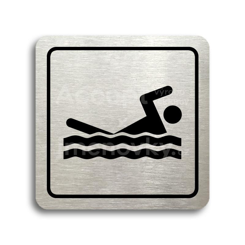 ACCEPT Piktogram bazén venkovní - stříbrná tabulka - černý tisk