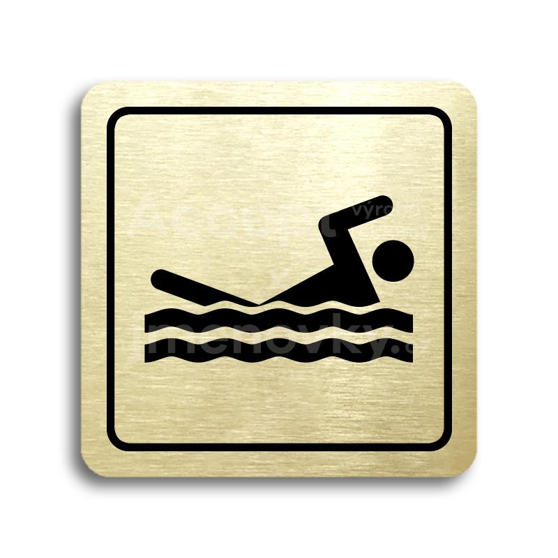 ACCEPT Piktogram bazén venkovní - zlatá tabulka - černý tisk