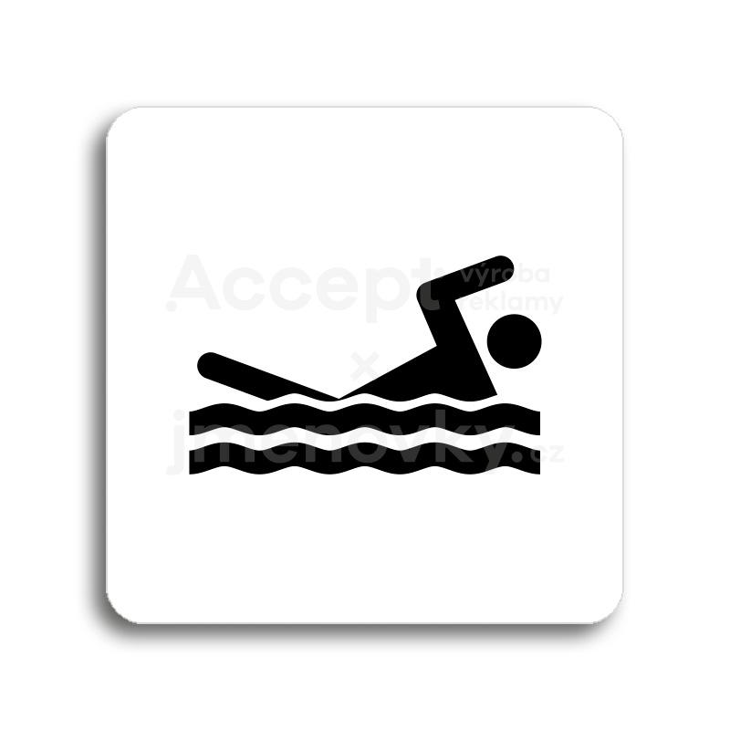 ACCEPT Piktogram bazén venkovní - bílá tabulka - černý tisk bez rámečku