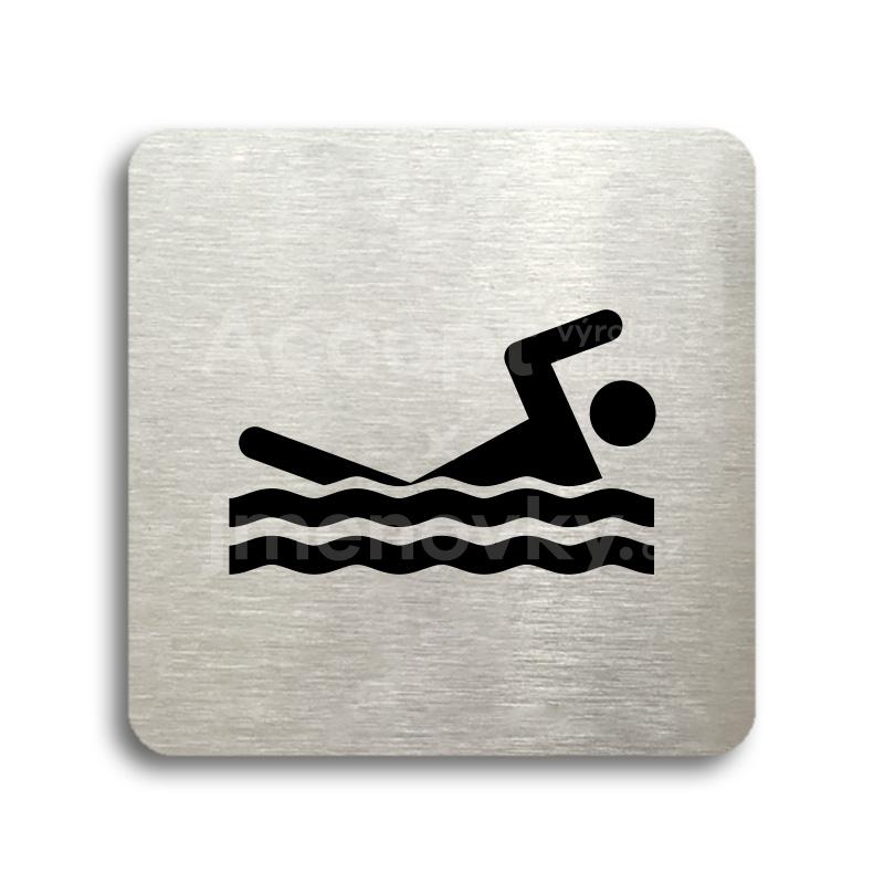 ACCEPT Piktogram bazén venkovní - stříbrná tabulka - černý tisk bez rámečku