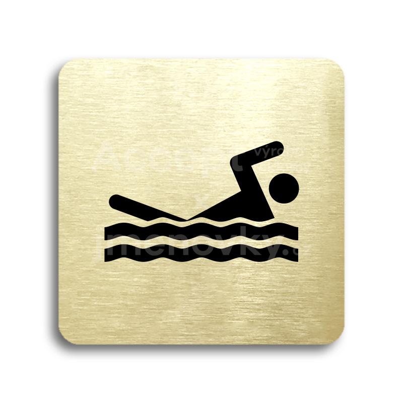 ACCEPT Piktogram bazén venkovní - zlatá tabulka - černý tisk bez rámečku