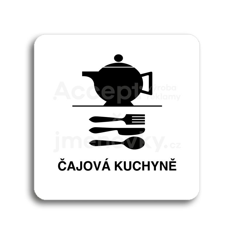 ACCEPT Piktogram čajová kuchyně - bílá tabulka - černý tisk bez rámečku