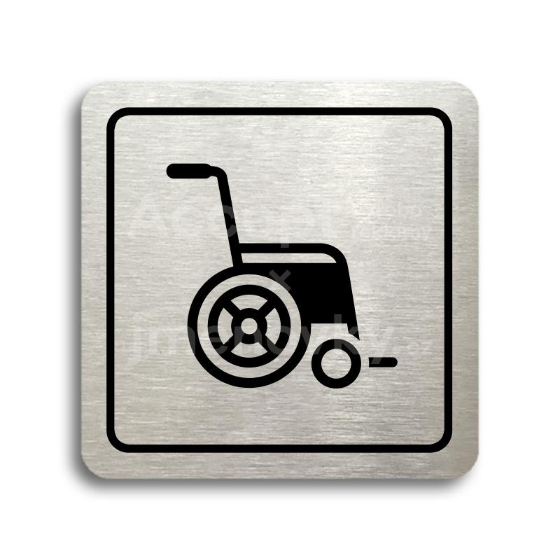 ACCEPT Piktogram invalidní vozík - stříbrná tabulka - černý tisk