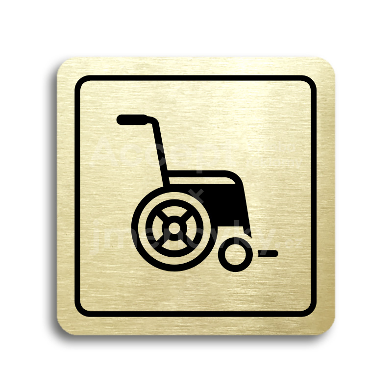 ACCEPT Piktogram invalidní vozík - zlatá tabulka - černý tisk