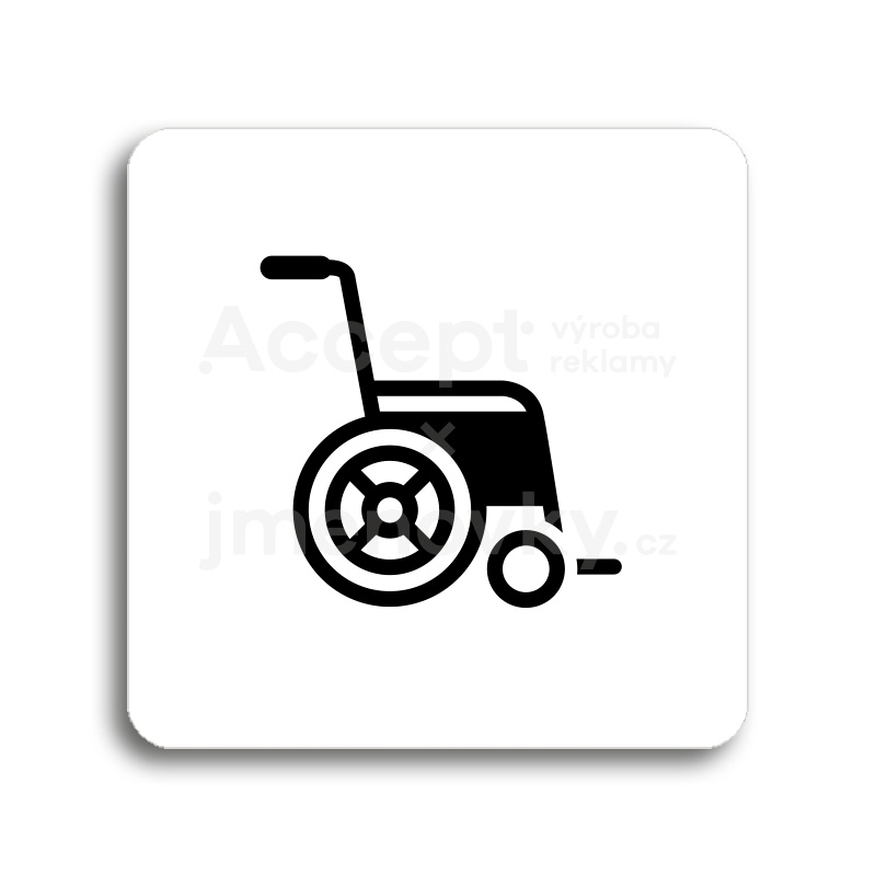 ACCEPT Piktogram invalidní vozík - bílá tabulka - černý tisk bez rámečku