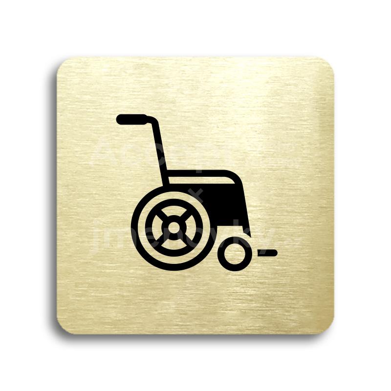 ACCEPT Piktogram invalidní vozík - zlatá tabulka - černý tisk bez rámečku