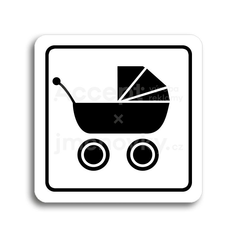ACCEPT Piktogram kočárek - bílá tabulka - černý tisk