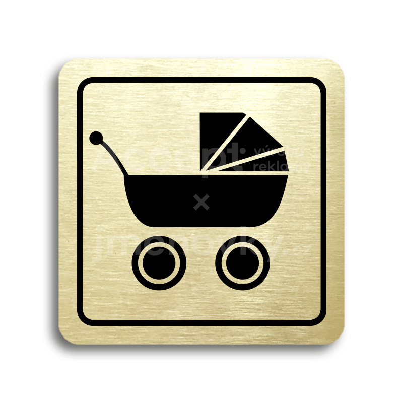 ACCEPT Piktogram kočárek - zlatá tabulka - černý tisk
