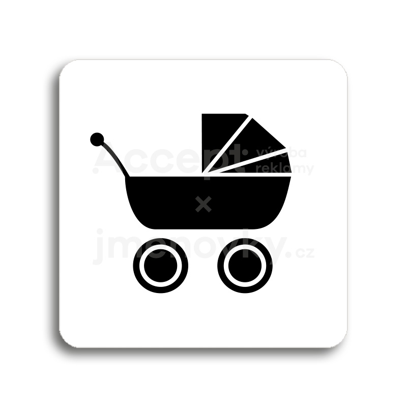ACCEPT Piktogram kočárek - bílá tabulka - černý tisk bez rámečku