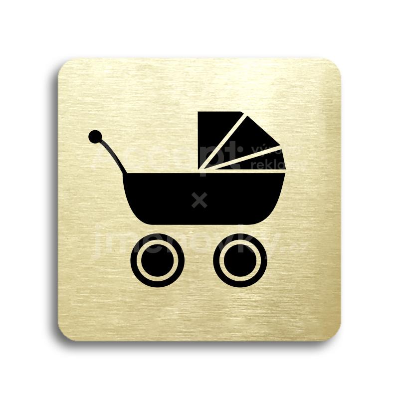 ACCEPT Piktogram kočárek - zlatá tabulka - černý tisk bez rámečku