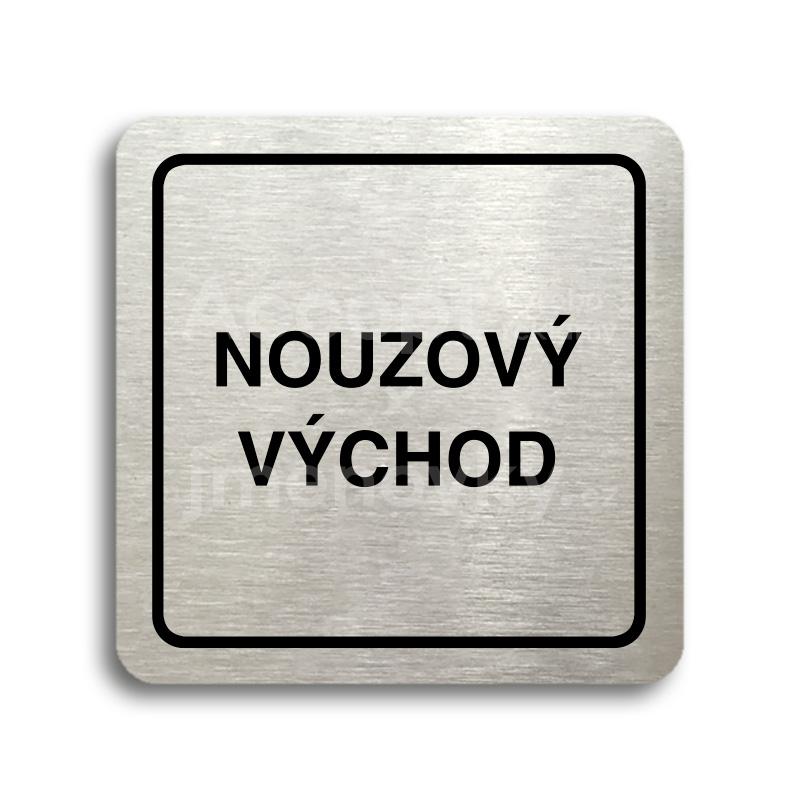 ACCEPT Piktogram nouzový východ - stříbrná tabulka - černý tisk