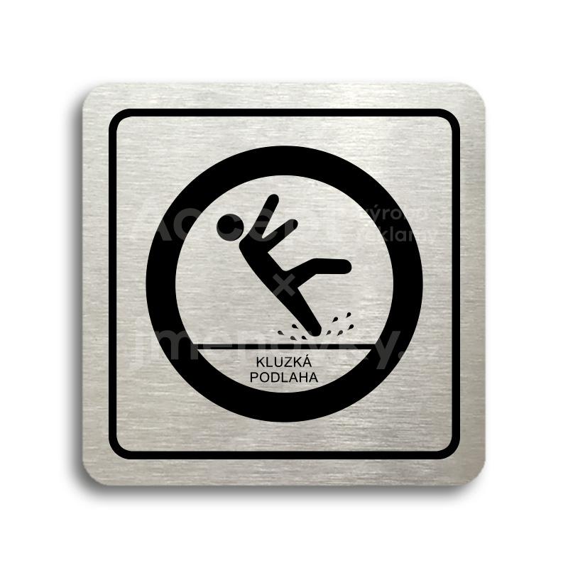 ACCEPT Piktogram pozor, kluzká podlaha - stříbrná tabulka - černý tisk