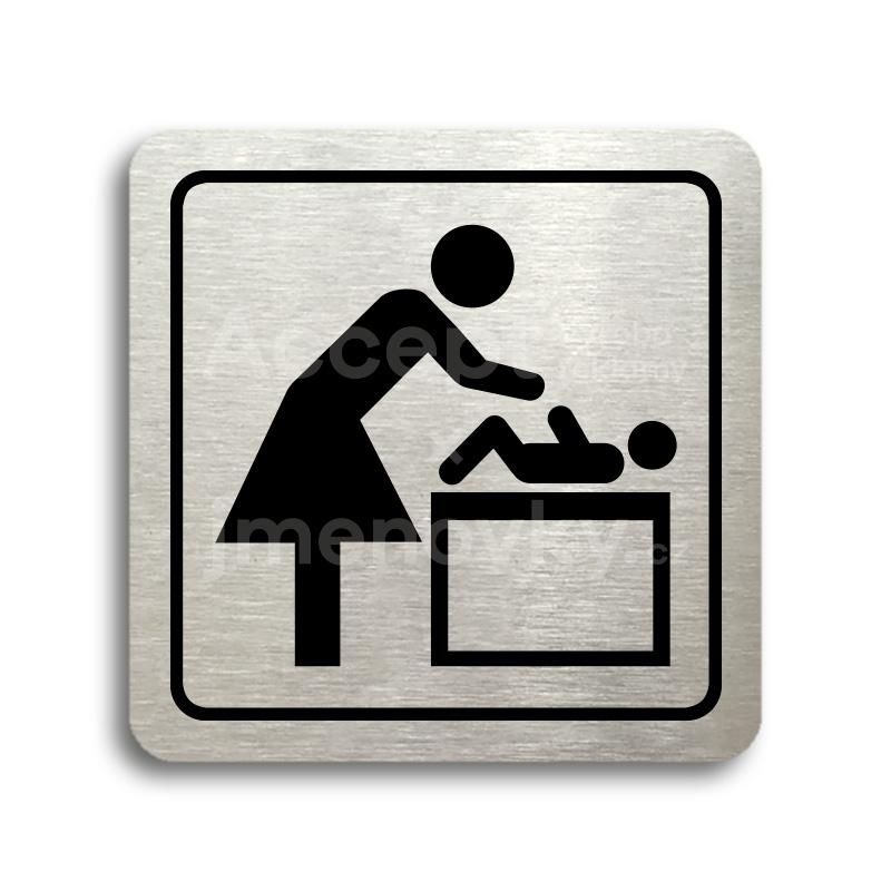 ACCEPT Piktogram přebalovací pult - stříbrná tabulka - černý tisk