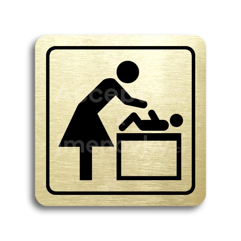 ACCEPT Piktogram přebalovací pult - zlatá tabulka - černý tisk