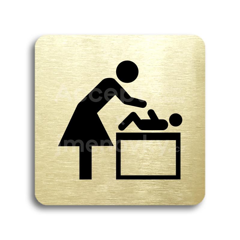 ACCEPT Piktogram přebalovací pult - zlatá tabulka - černý tisk bez rámečku