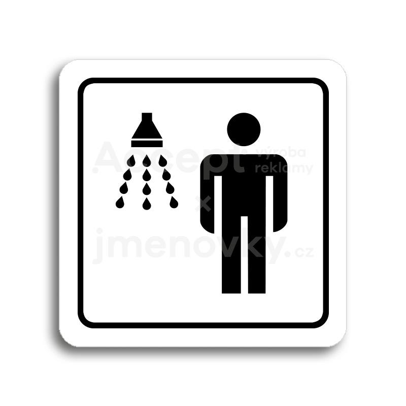 ACCEPT Piktogram sprcha muži - bílá tabulka - černý tisk