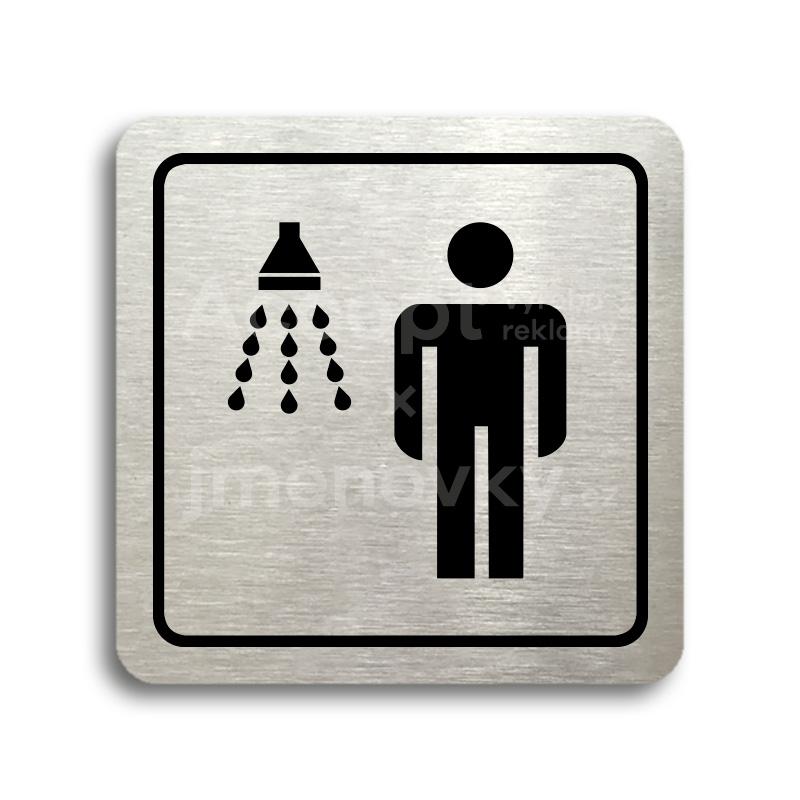 ACCEPT Piktogram sprcha muži - stříbrná tabulka - černý tisk