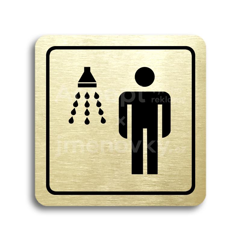ACCEPT Piktogram sprcha muži - zlatá tabulka - černý tisk