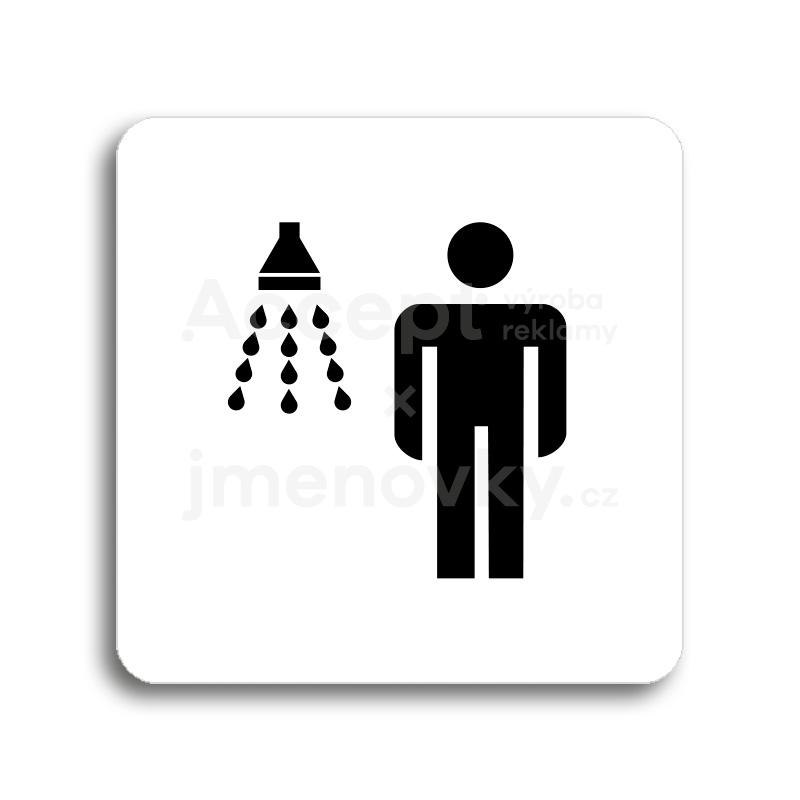 ACCEPT Piktogram sprcha muži - bílá tabulka - černý tisk bez rámečku