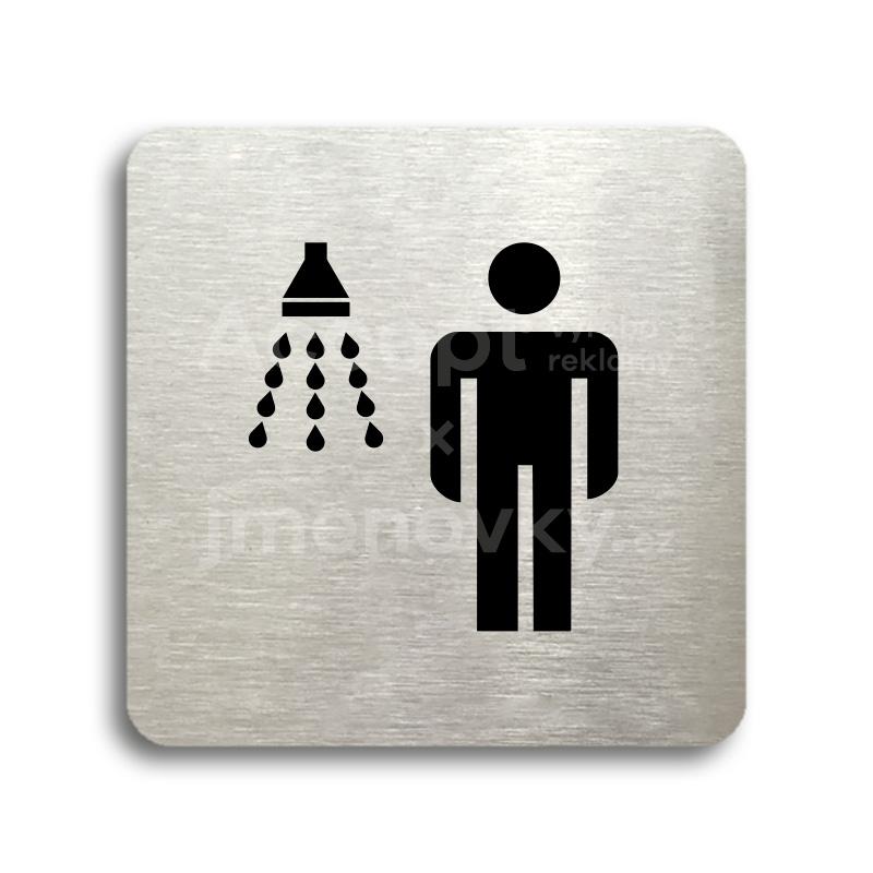 ACCEPT Piktogram sprcha muži - stříbrná tabulka - černý tisk bez rámečku