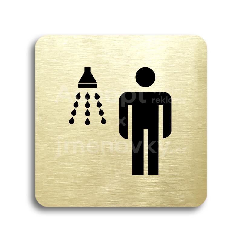 ACCEPT Piktogram sprcha muži - zlatá tabulka - černý tisk bez rámečku