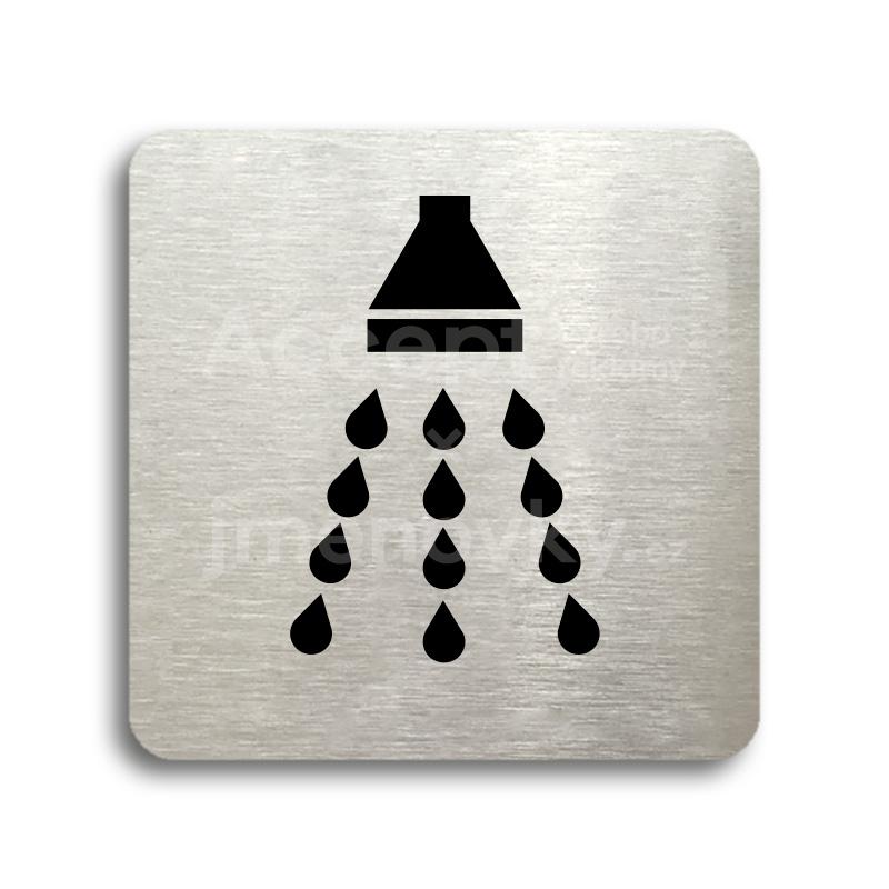 ACCEPT Piktogram sprcha - stříbrná tabulka - černý tisk bez rámečku