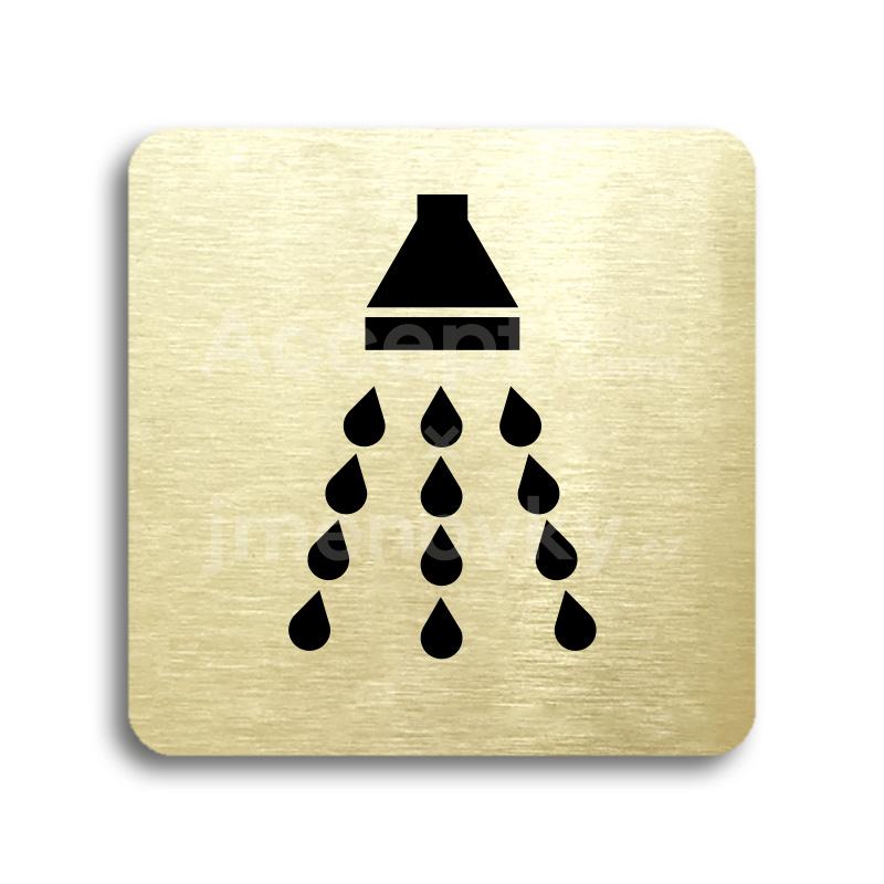 ACCEPT Piktogram sprcha - zlatá tabulka - černý tisk bez rámečku