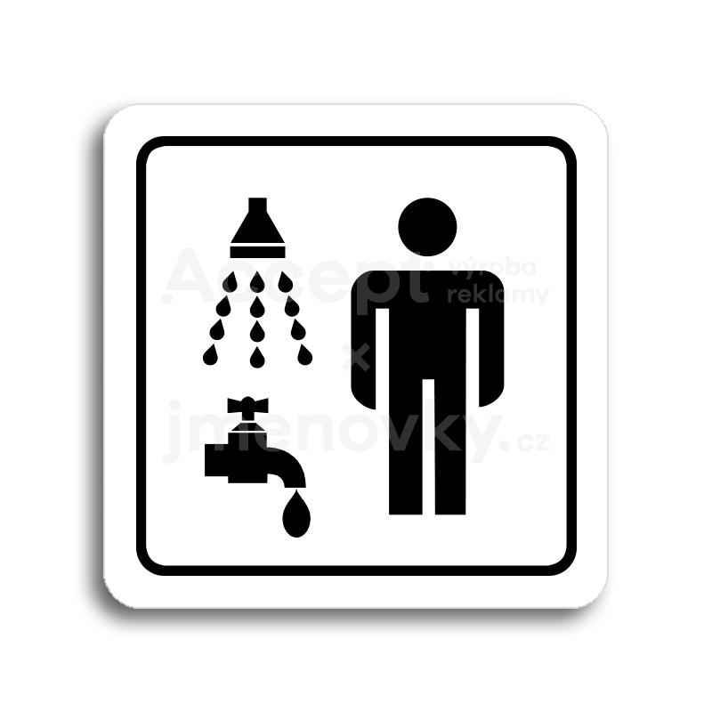 ACCEPT Piktogram sprcha, umývárna muži - bílá tabulka - černý tisk