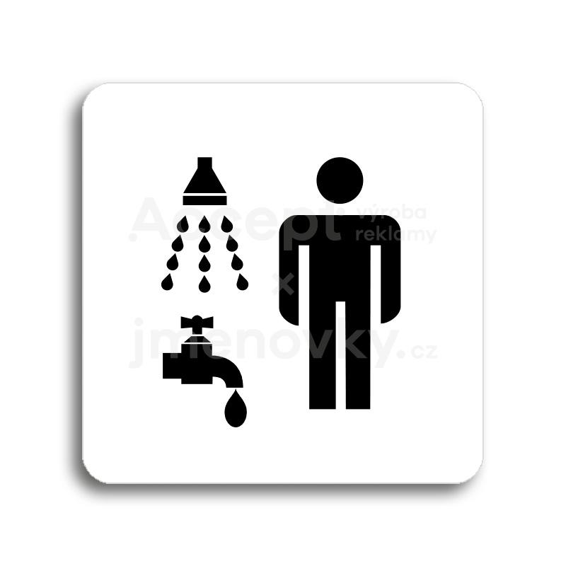 ACCEPT Piktogram sprcha, umývárna muži - bílá tabulka - černý tisk bez rámečku