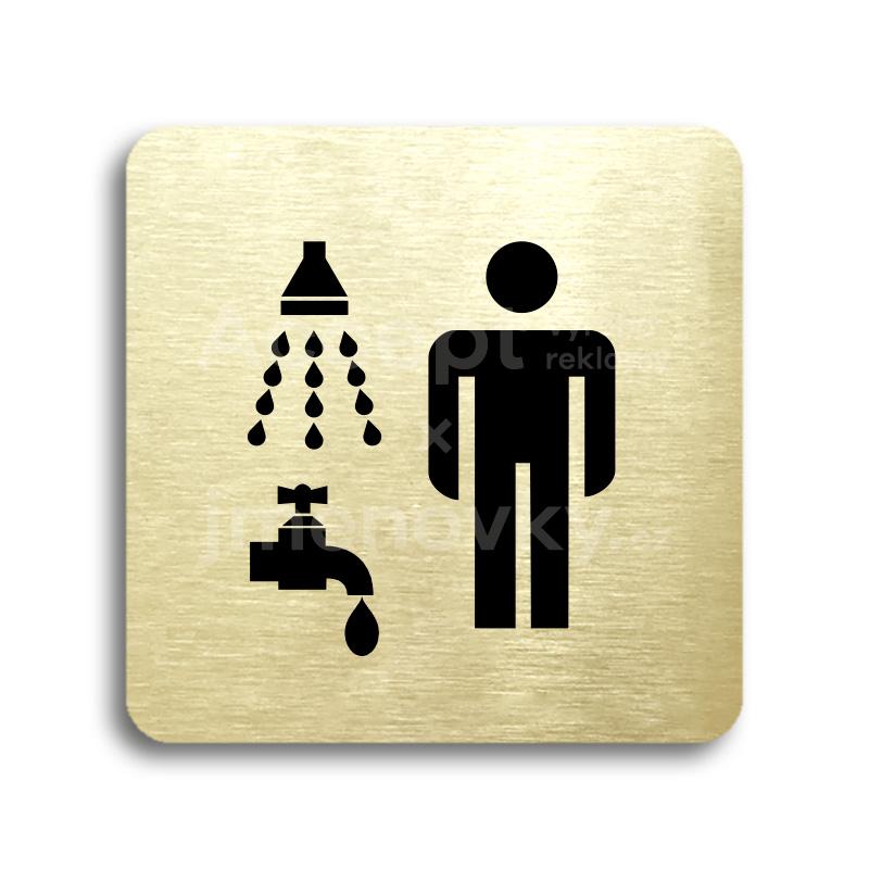 ACCEPT Piktogram sprcha, umývárna muži - zlatá tabulka - černý tisk bez rámečku