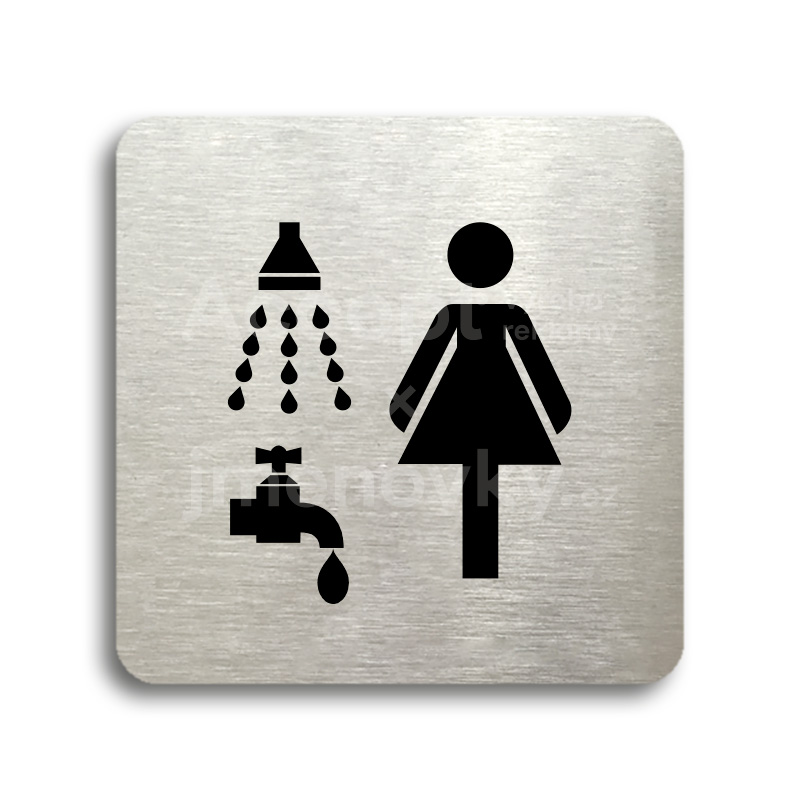 ACCEPT Piktogram sprcha, umývárna ženy - stříbrná tabulka - černý tisk bez rámečku
