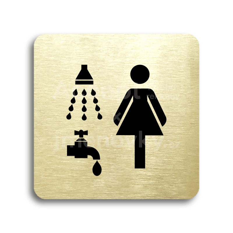 ACCEPT Piktogram sprcha, umývárna ženy - zlatá tabulka - černý tisk bez rámečku