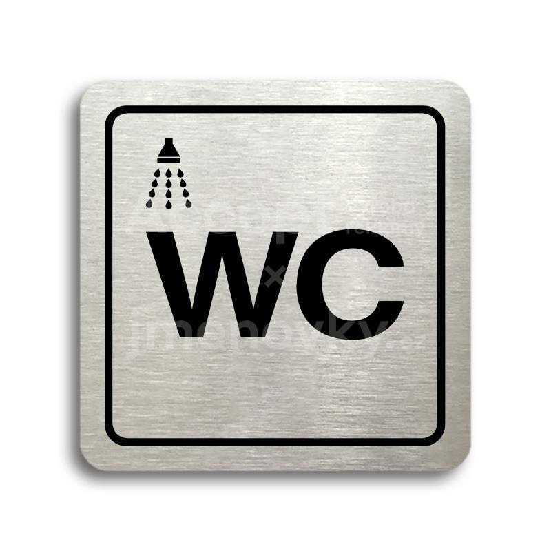 ACCEPT Piktogram sprcha, WC - stříbrná tabulka - černý tisk