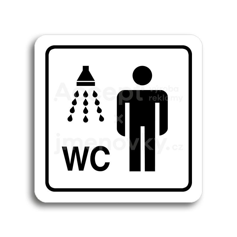ACCEPT Piktogram sprcha, WC muži - bílá tabulka - černý tisk