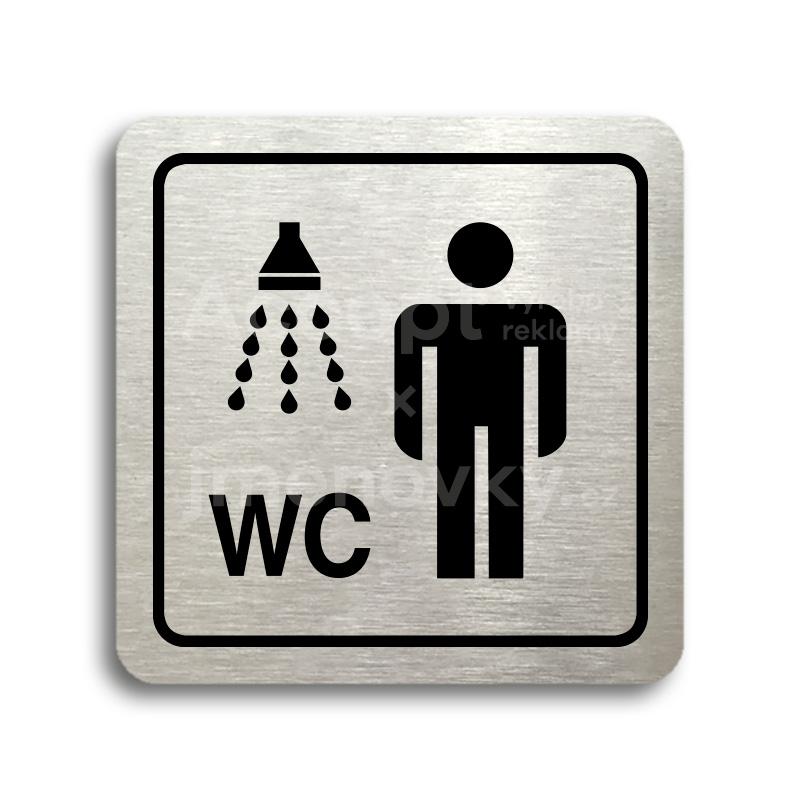ACCEPT Piktogram sprcha, WC muži - stříbrná tabulka - černý tisk