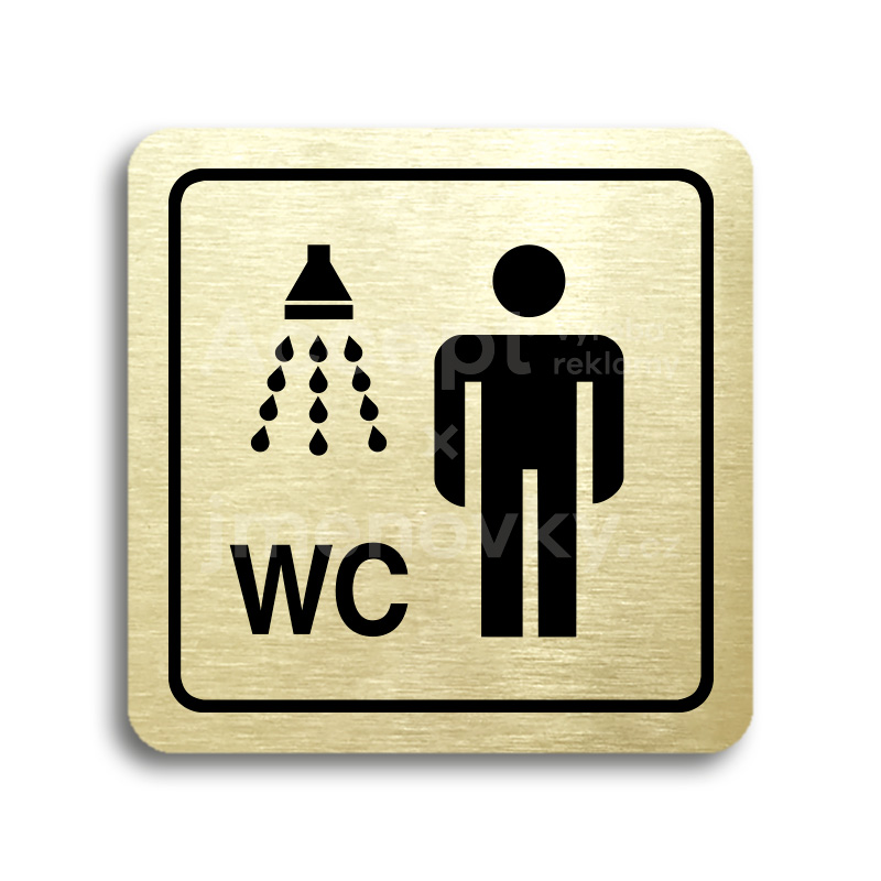 ACCEPT Piktogram sprcha, WC muži - zlatá tabulka - černý tisk