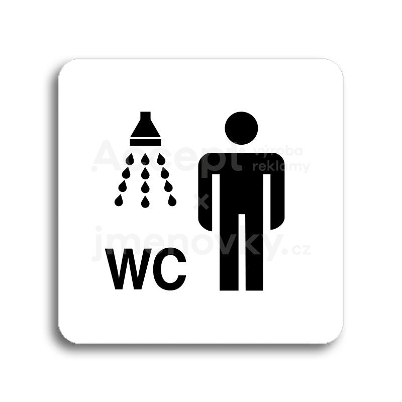 ACCEPT Piktogram sprcha, WC muži - bílá tabulka - černý tisk bez rámečku