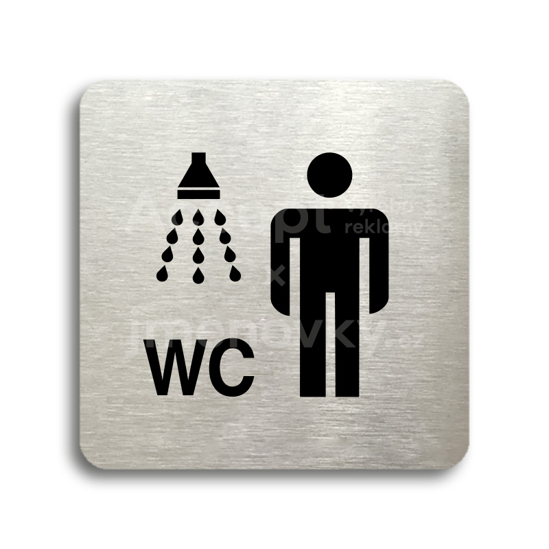 ACCEPT Piktogram sprcha, WC muži - stříbrná tabulka - černý tisk bez rámečku