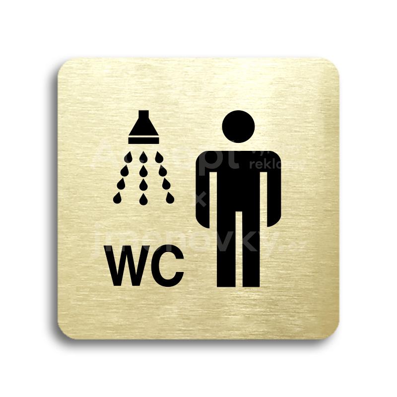 ACCEPT Piktogram sprcha, WC muži - zlatá tabulka - černý tisk bez rámečku