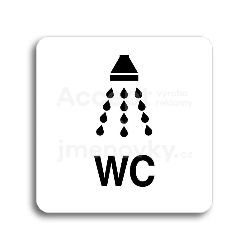 ACCEPT Piktogram sprcha, WC - bílá tabulka - černý tisk bez rámečku
