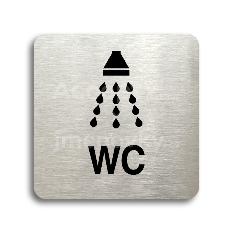ACCEPT Piktogram sprcha, WC - stříbrná tabulka - černý tisk bez rámečku